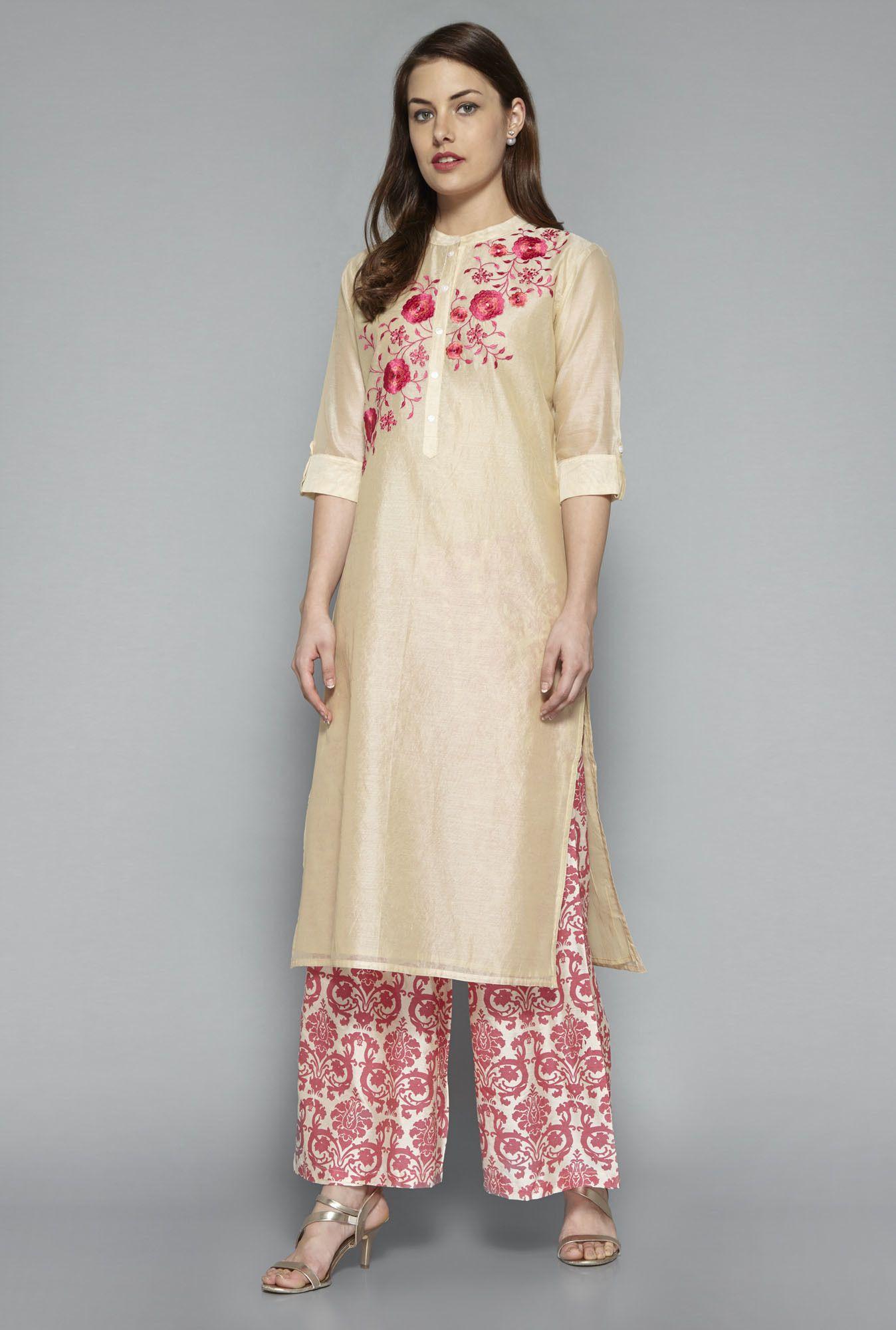 84cead8af ... Women Online @ Tata CLiQ. Vark by Westside Beige Embroidered Suit Set
