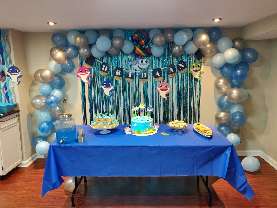 we did a baby shark theme birthday party for our 2 yr old