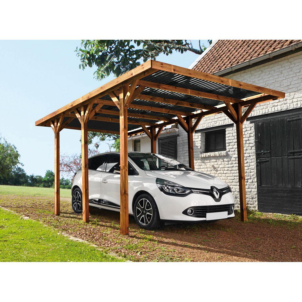 Carport en bois traité Enzo 15,72 m² (With images