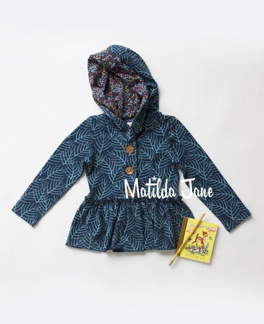 3. ARCADIA HOODIE. (RV $52-$54). sz 12m, 18m, 2, 4, 6, 8, 10, 12. PBNfall2013. (top, jacket, leaves, teal, green) | Mjc LookBooks