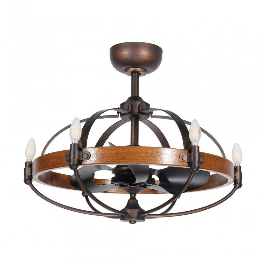 29 Quot Lilo Rustic Wood Caged Chandelier Ceiling Fan With