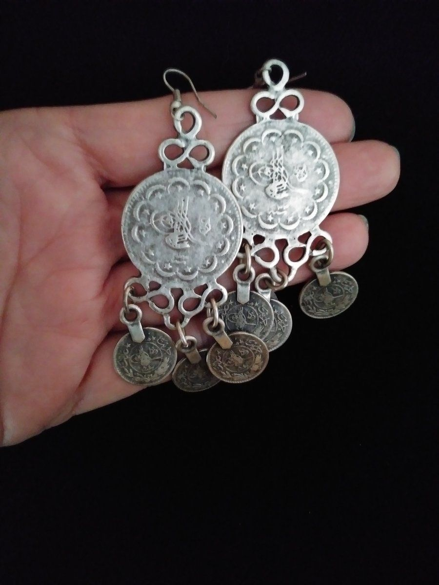 10c896339 True Vintage Gypsy look! Large coins jangle but feel lightweight.Fabulous  on!!Handmade in Turkey, silvery overlay.