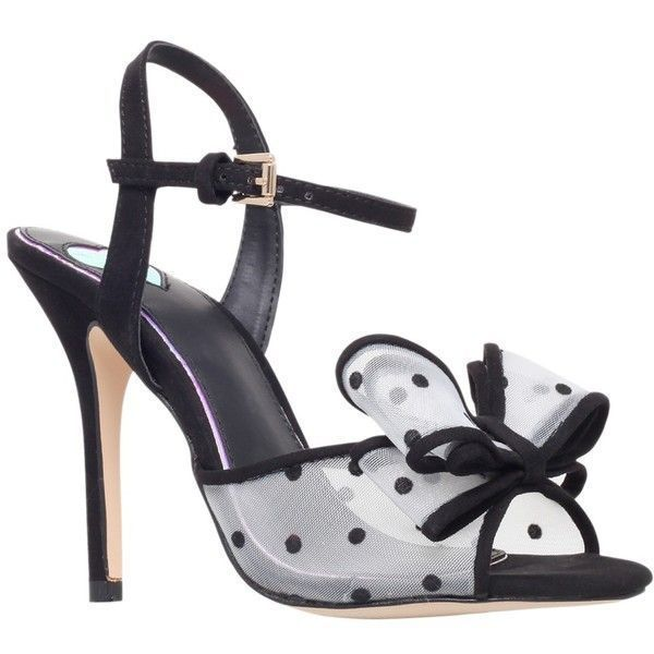 Miss KG Florrie Bow Detail Occasion Sandals, Black/White ($61) ❤ liked on Polyvore featuring shoes, sandals, heels, low heel shoes, strappy flat sandals, high heel stilettos, flat strap sandals and low heel sandals #sandalsheelslow