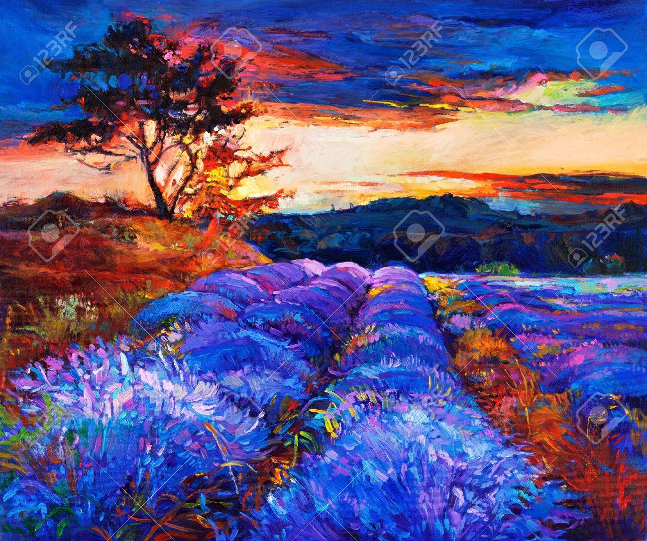 Peinture l 39 huile originale de champs de lavande sur - Peinture couleur lavande ...