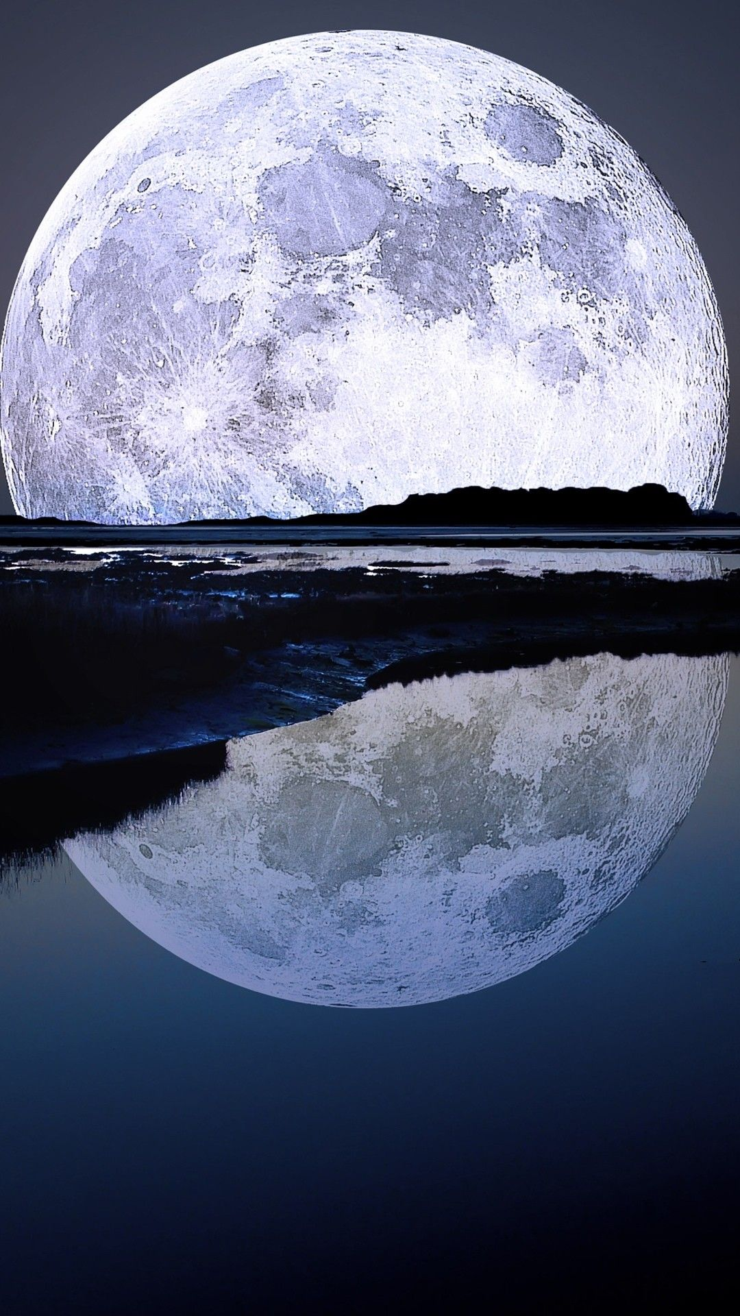 Wallpaper iphone moon - Nature Iphone 6 Plus Wallpapers Super Moon Water Reflection Iphone 6 Plus Hd