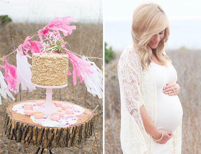 adbde03dd5b8f maternity session style // lace kimono + white dress + gold cake with