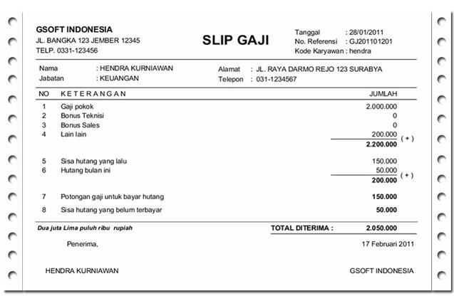 Contoh Slip Gaji Karyawan Microsoft Excel Microsoft Desain Resume