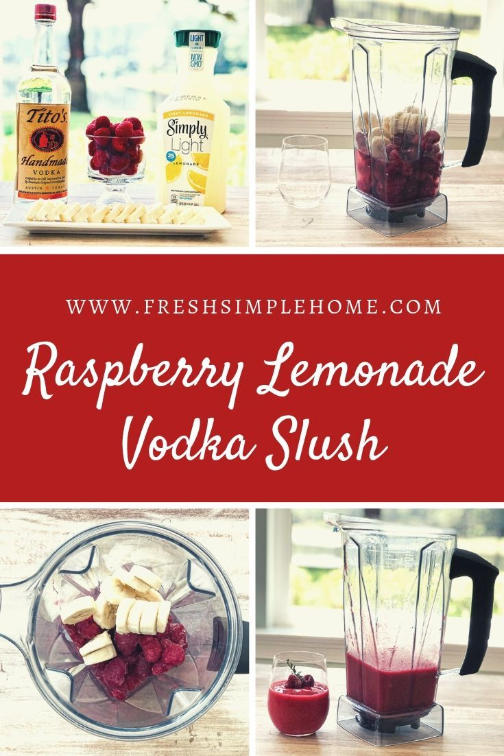 Delicious, refreshing, and delightfully simple to make! This lemonade raspberry vodka slush is just sweet enough to quench your sugar craving without all of the guilt. With the tang of lemons, the burst of raspberry flavor, and the slight hint of banana, you will be making this slush all summer long. #raspberryvodka