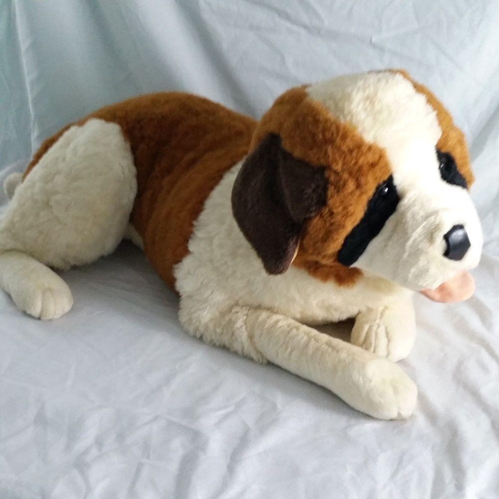 Realistic St Bernard Plush Dog Large Life Size Stuffed Animal Soft