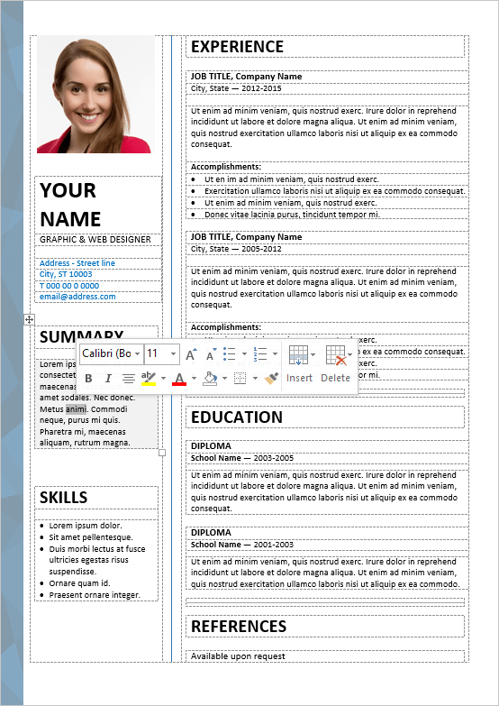 Well Organized Table Formatted And Fully Editable Free Resume Template For Word Free Resume Template Word Resume Template Resume Template Word