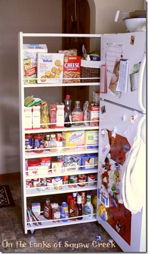 DIY, Do It Yourself, Pull Out Pantry, Pantry On Wheels, Narrow