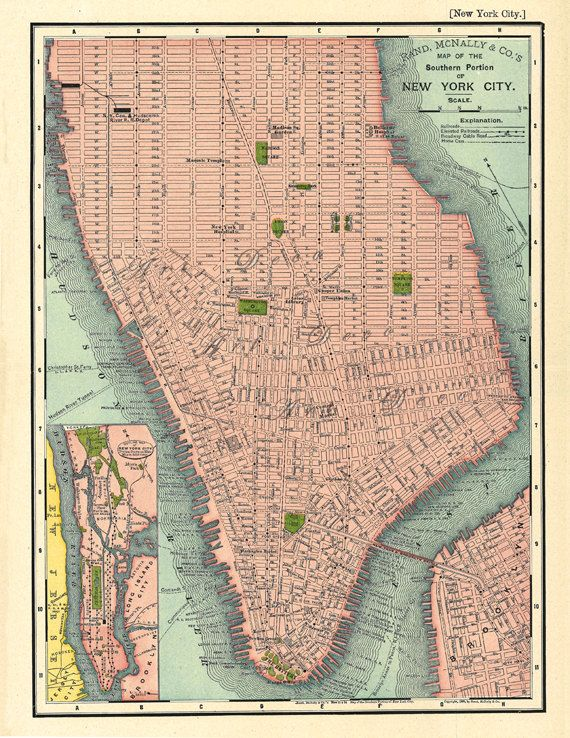 map of southern manhattan a vintage printable map digital image no