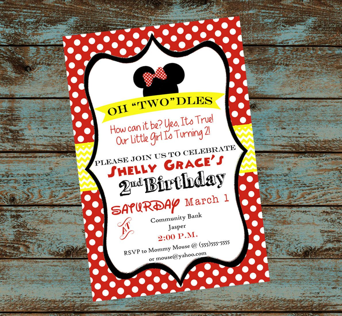 Oh Toodles! Minnie Mouse 2nd Birthday Party Invitation - Mickey ...