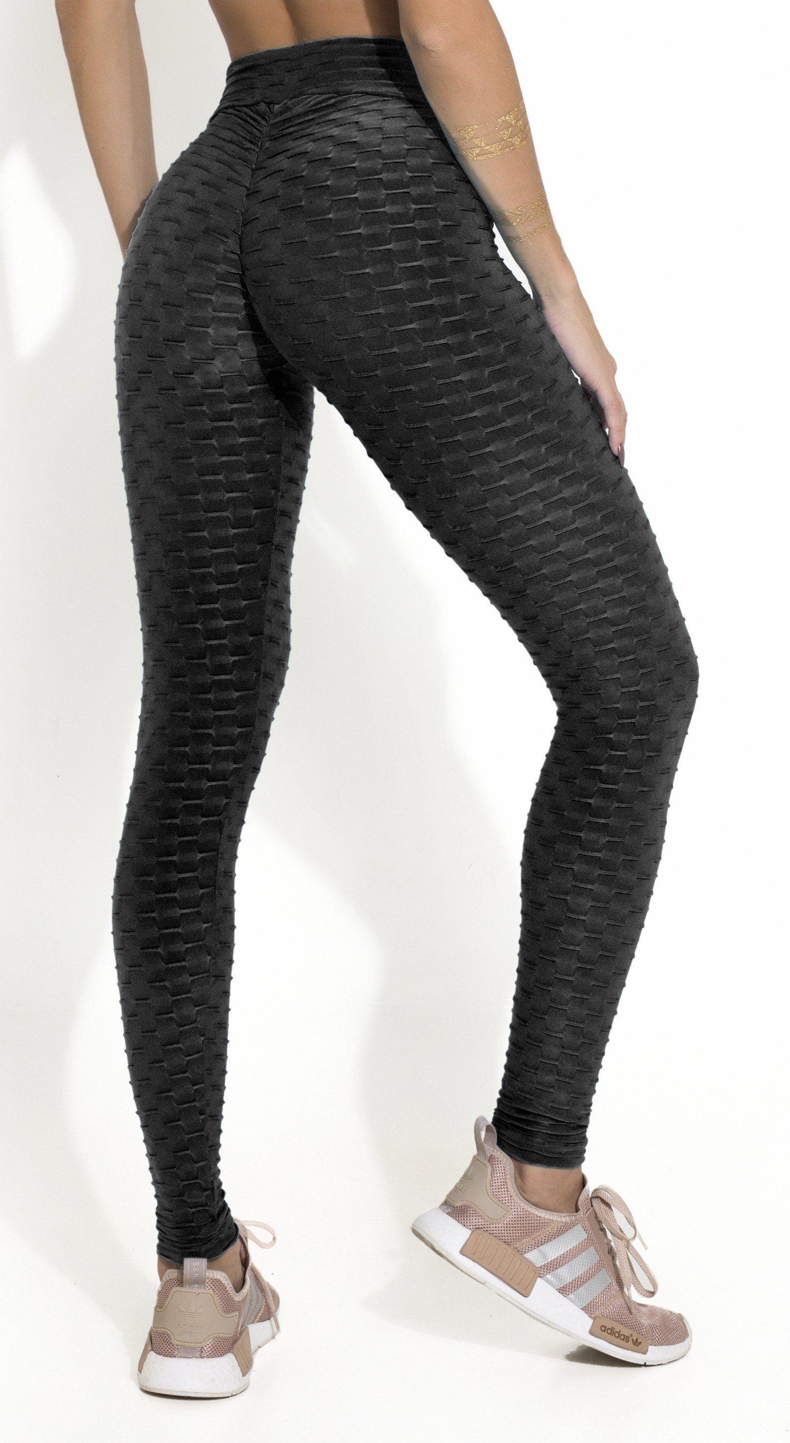 ff580ab9c61bc Brazilian Legging - Anti Cellulite Honeycomb Textured Scrunch Booty Shiny  Black
