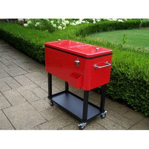 Red Wheeled Patio Cooler Cart By Oakland Living