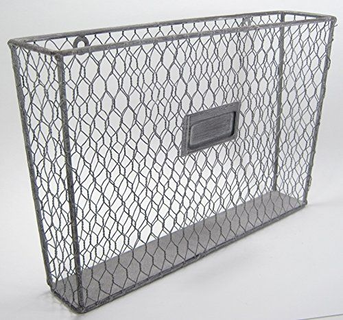 Metal Wall Pocket rustic country style chicken wire metal wall pocket organizer file