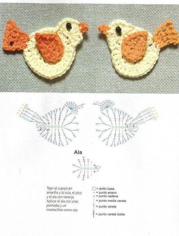 Solo esquemas y diseños de crochet: MAS MINI PAJARITOS | βελονακι ...