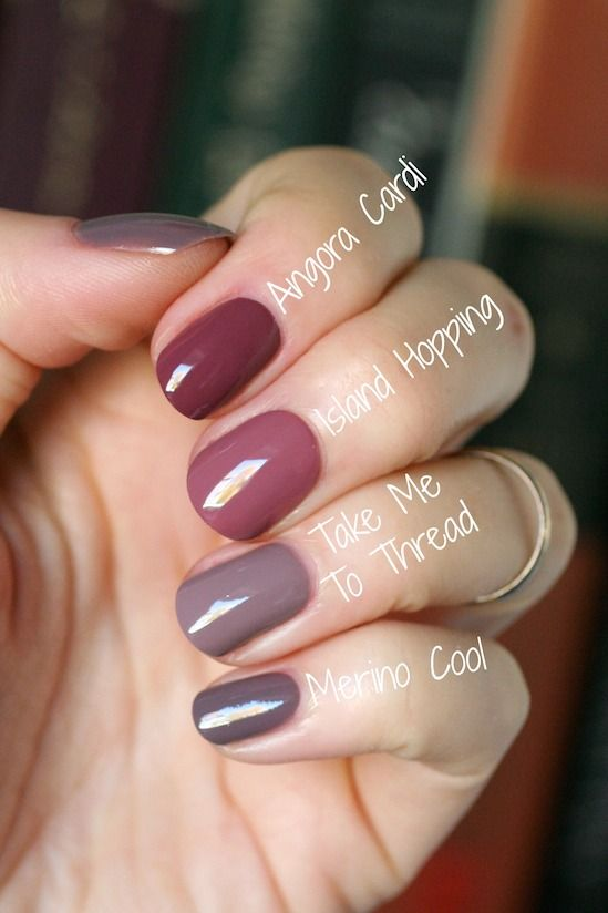 Essie Mauve Comparison Merino Cool Angora Cardi Island Hopping Take Me To Thread Essie Envy Mauve Nails Essie Nail Nail Polish