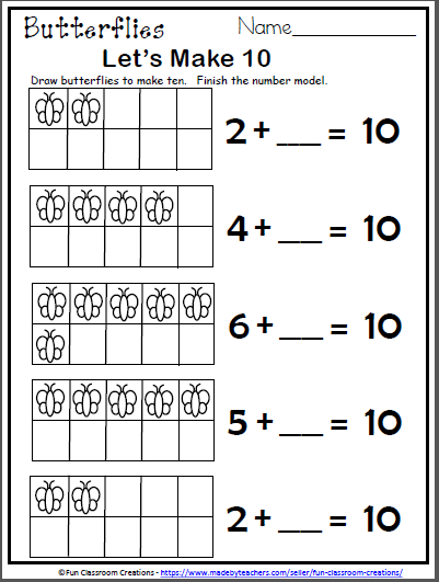 Free Butterfly Math Worksheet For Kindergarten Let S Make 10 Activity Made By Teachers First Grade Math Worksheets Kindergarten Math Worksheets Free Kindergarten Math Worksheets