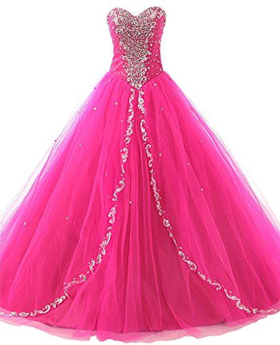 823172198a0 JAEDEN Wedding Sweetheart Long Quinceanera Dresses Formal Prom Dresses Ball  Gown Hot Pink US2     Continue to the product at the image link.