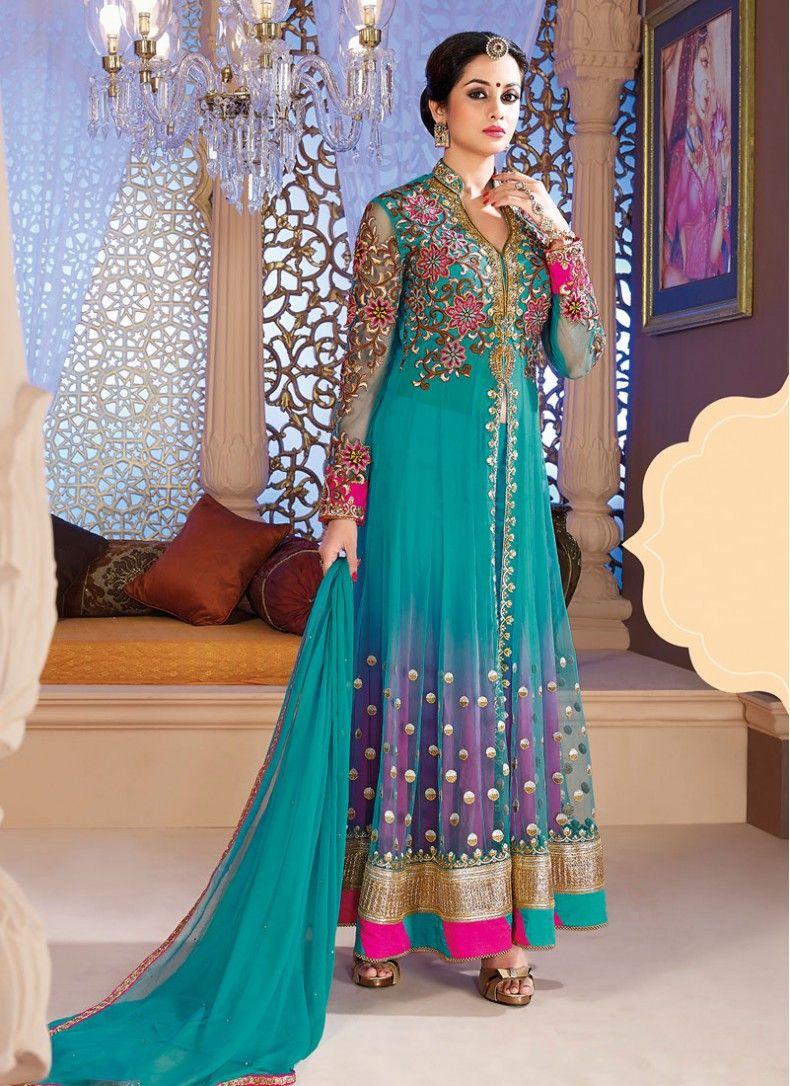 Net Sea Green Embroidered Ankle Length Designer Anarkali Suit ...