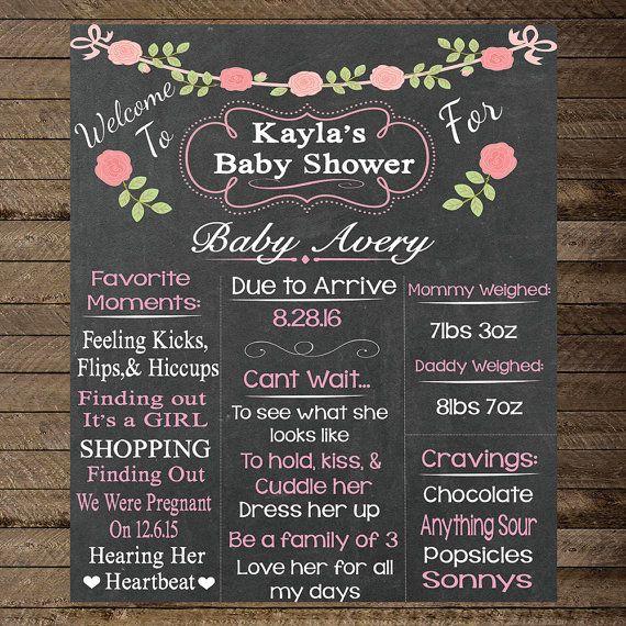 Baby Shower Chalkboard Chalkboard Sign Baby Girl by InJOYPrints