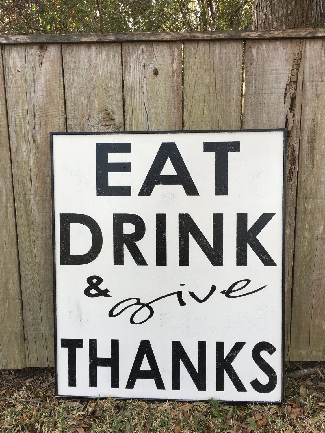 Wall Signs Decor Custom Eat Drink And Give Thanks Signfixer Upper Inspired Signs345X40 Design Inspiration