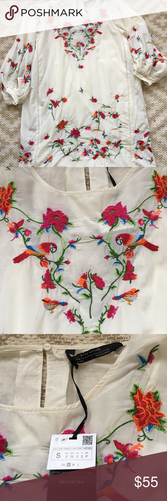 51c48926 New Zara Parrot Floral Embroidered Mini Dress Sm This dress is the cutest.  Has parrots
