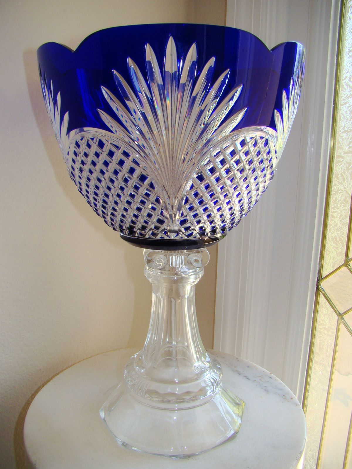 louis stands pair urns vases large vase pin xv cut on blue glass