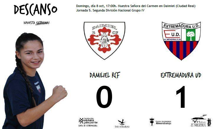 DESCANSO  Daimiel RCF 0-1 Extremadura UD  Gol de Belén.  #soloparavalientes