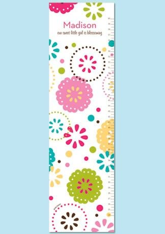Personalized Modern Flowers Paper Growth Chart Sprinkled Flowers