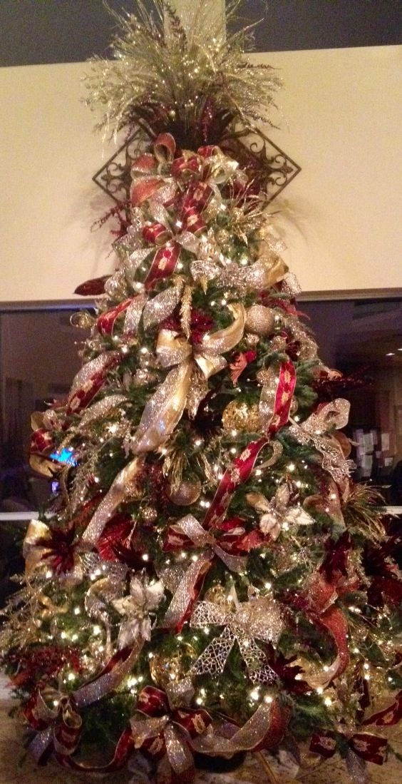Cream silver gold and burgundy christmas tree