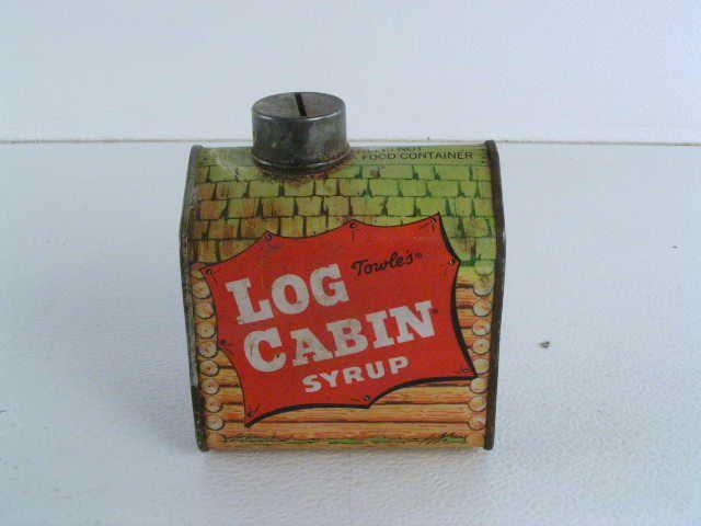 Empty Syrup Tin Coin Bank Log Cabin Cabin My Memory