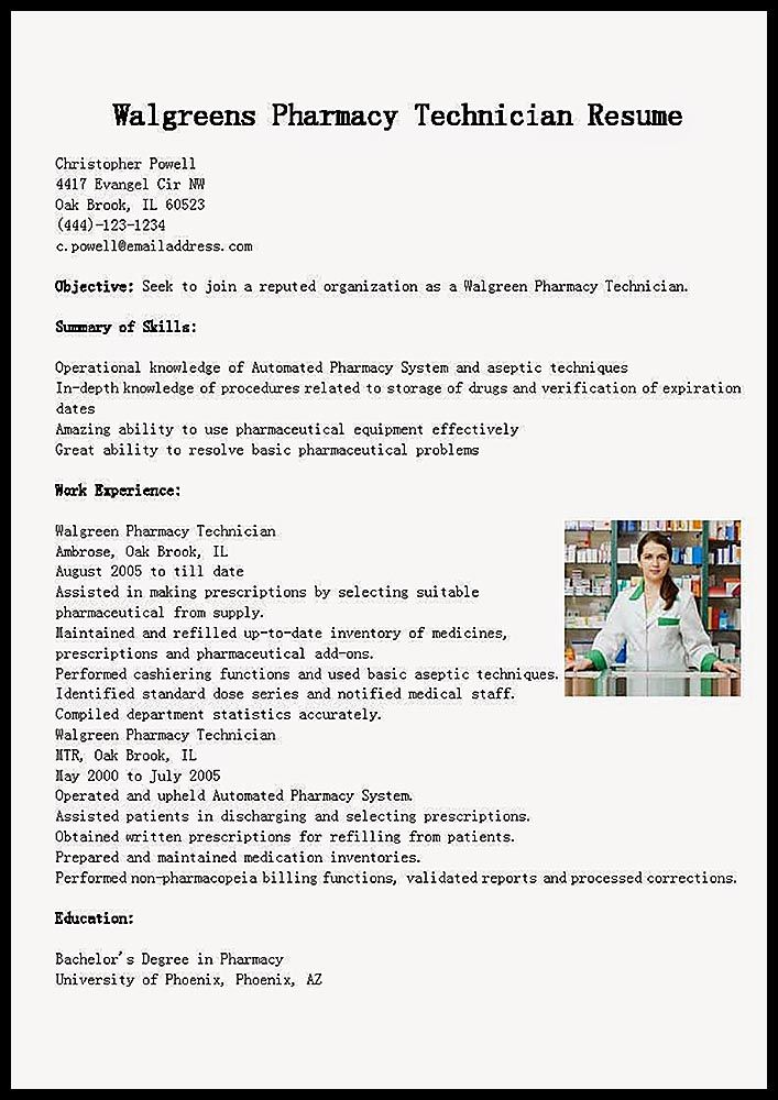 Example Resume  Training Pharmacy Technician -   - Walgreens Pharmacist Sample Resume