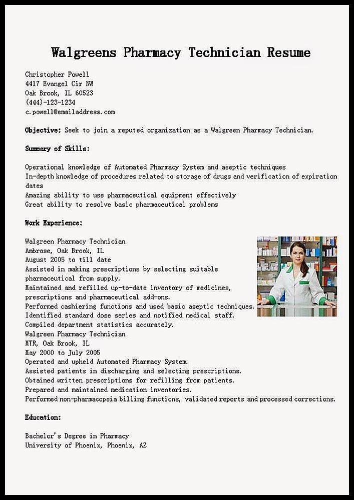 Example Resume & Training Pharmacy Technician http