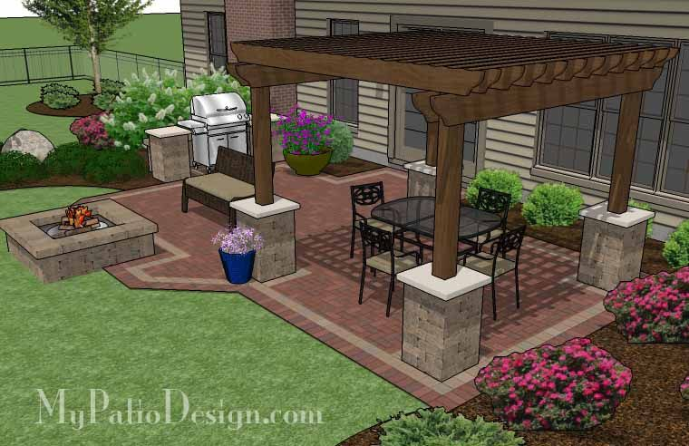 Backyard Brick Patio Design with 12 x 12 Pergola, Grill Station and Stone Fire Pit | Plan No. 1147rr | Download Installation Plan at MyPatioDesign.com #patiodesign