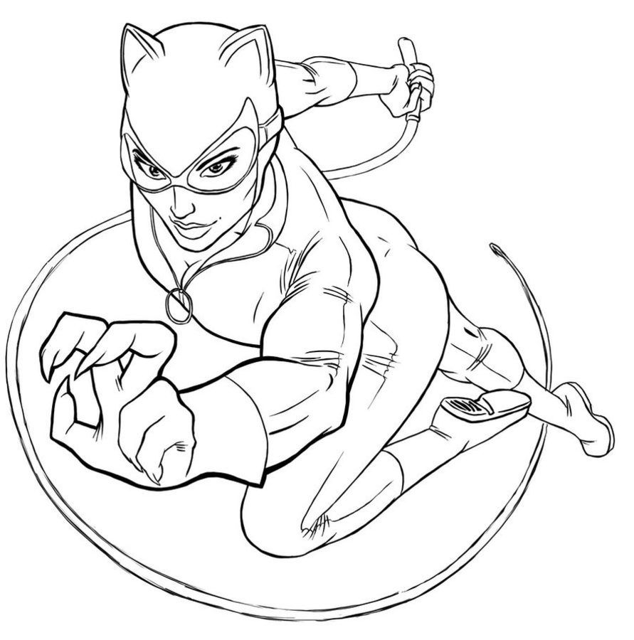 Coloring pages: Catwoman, printable for kids & adults, free | Art by ...