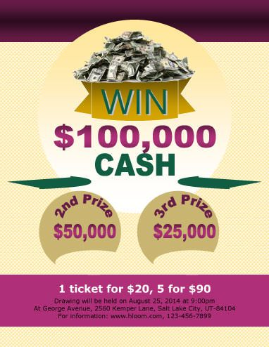 Raffle Flyer Template With  Cash Prizes  Cash Raffle