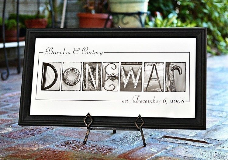 Personalized Name Frame Print (10x20) unframed - wedding reception decoration- last name- personalized wedding gift.