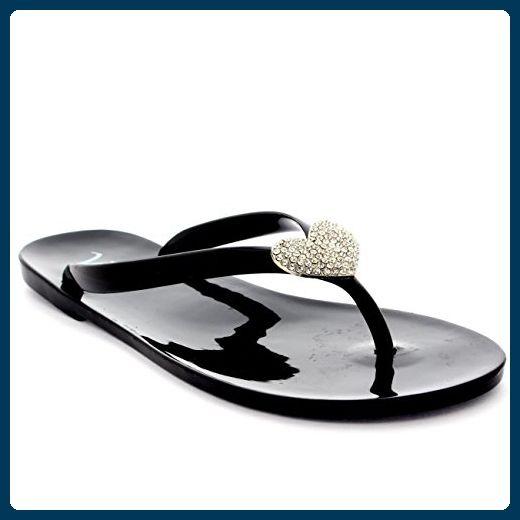 Damen Sommer Urlaub Diamante Gelee Schuhe Strand Flip Flops