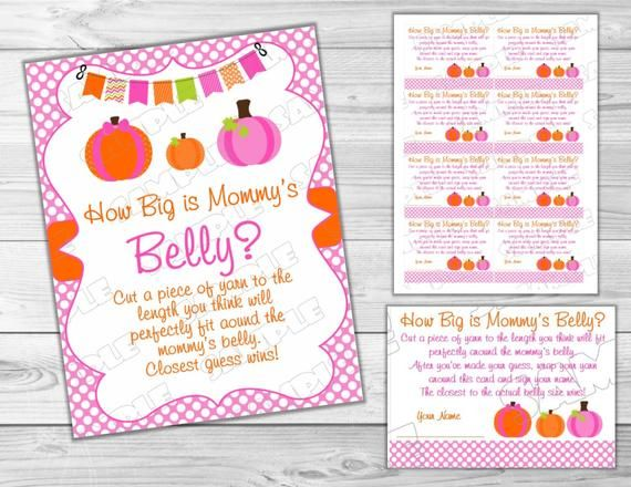 Pink Pumpkin Baby shower games how big is mommy's belly game Printable INSTANT DOWNLOAD UPrint by greenmelonstudios pumpkin fall baby shower