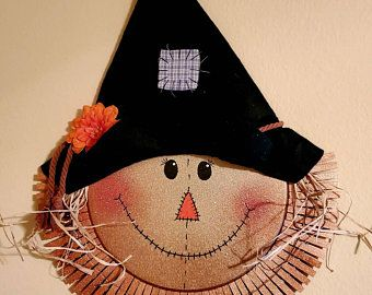 Flora the Pretty Scarecrow. Cute Scarecrow Wreath for Autumn. Burlap Mesh and Rafia.
