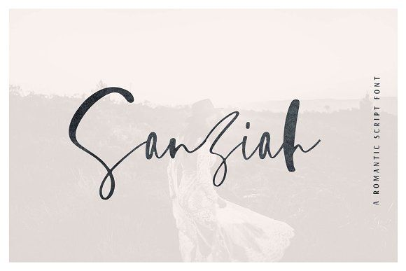 Sanziah | A Romantic Script by Sinikka Li on @creativemarket