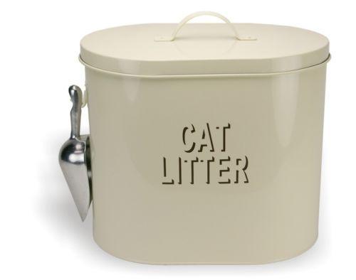 Vintage Retro Style Cream Cat Litter Tin Storage Box 21104 In