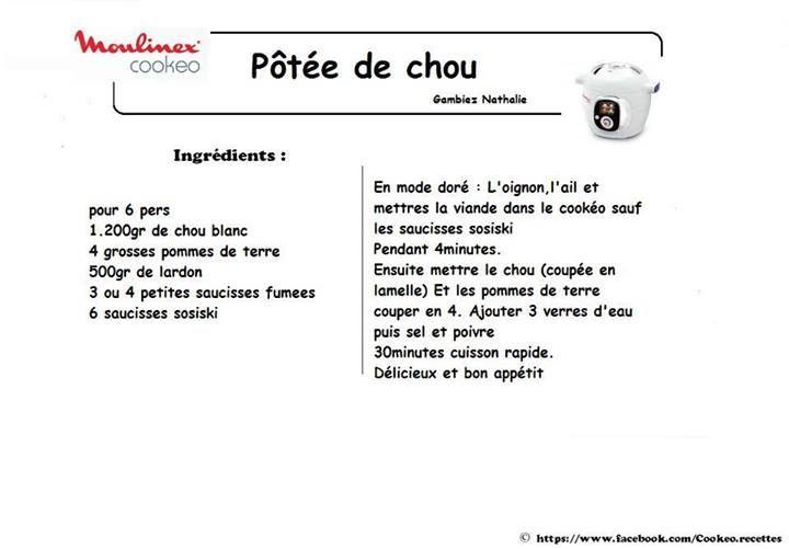 pôtée de chou (cookeo) | recettes au cookeo | pinterest | les