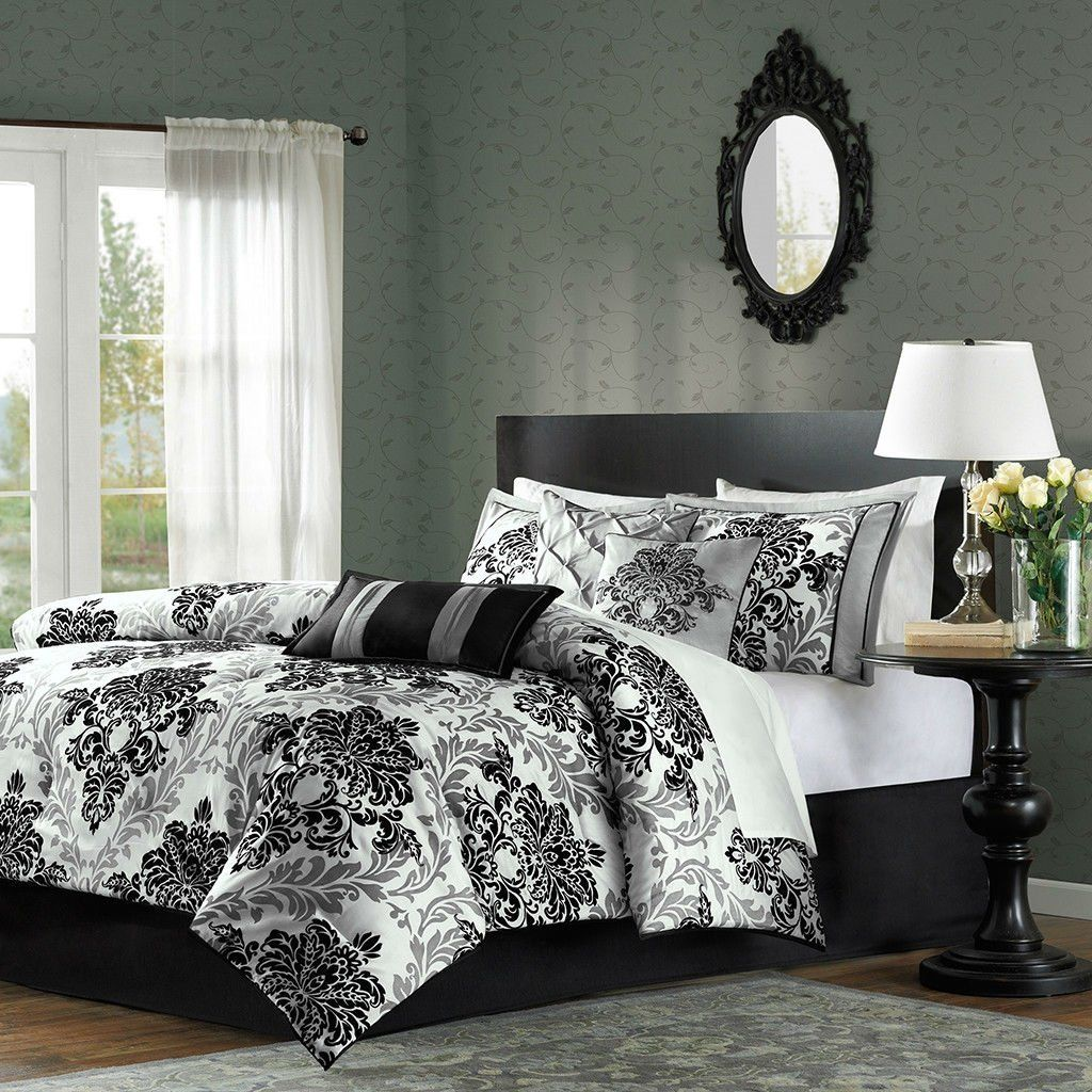 Queen size Piece Damask Comforter Set in Black White Grey