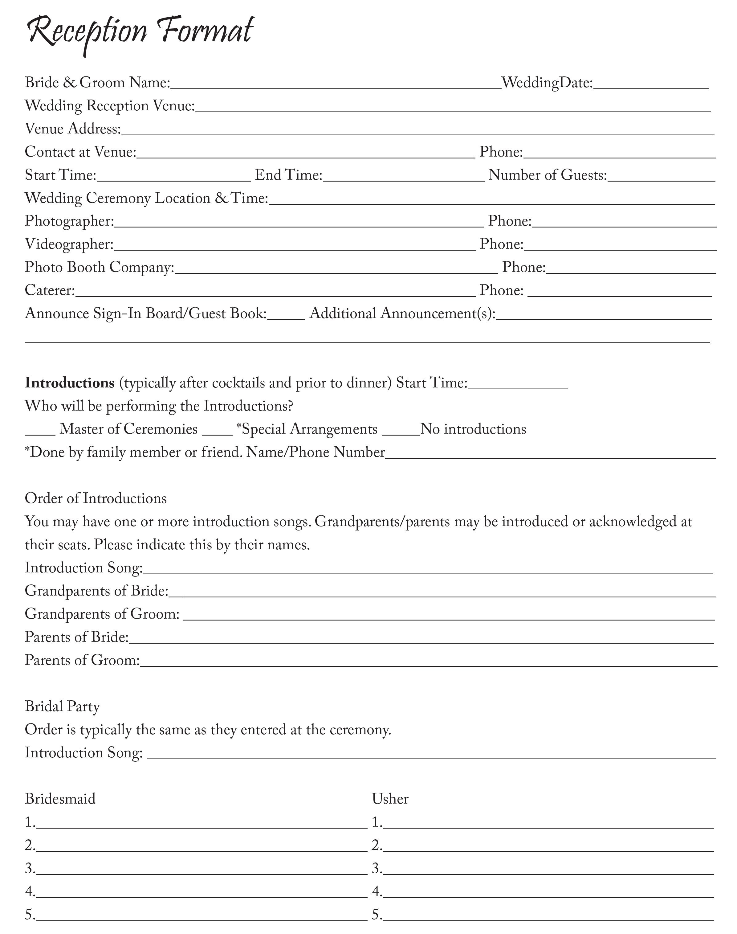 Wedding Dj Worksheet And Checklist
