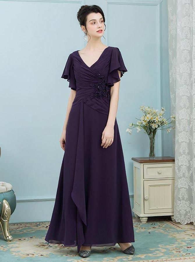 Mother Of The Bride Dresses With Sleeves Dark Purple Dress Youthful Md00006 Dresseothers