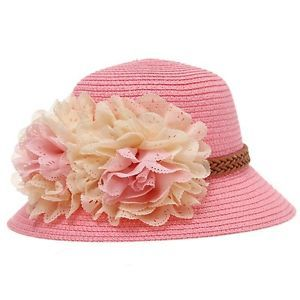 Cute Kids Summer Crochet Straw Beach Sun Hat With Flowers Girl's Accessories