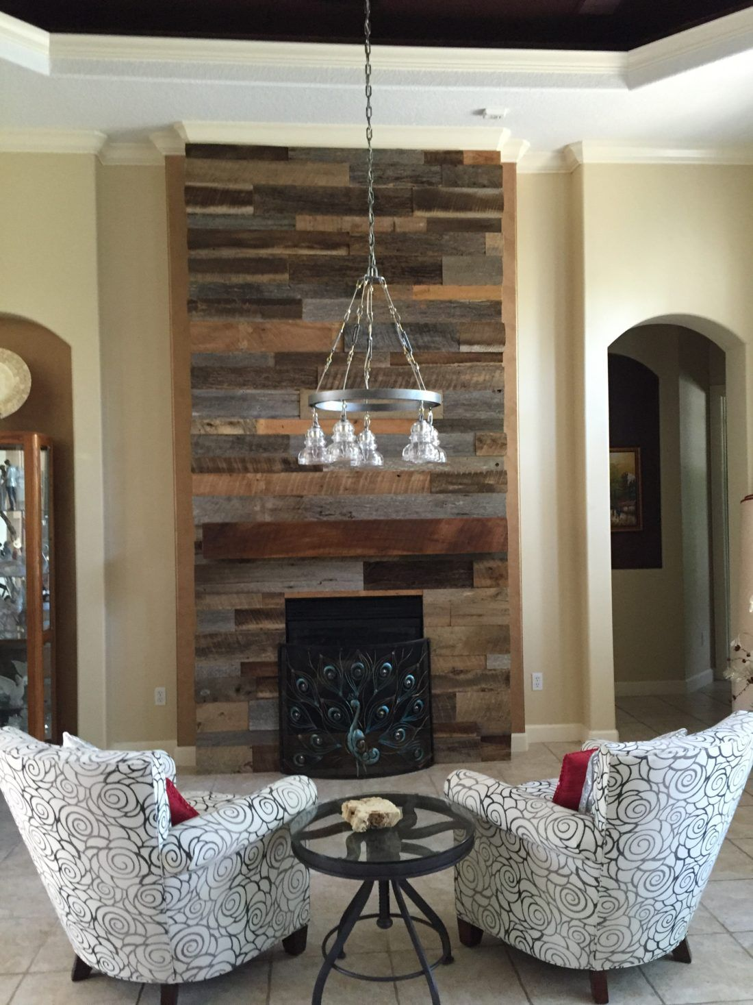 Reclaimed Wood Wall Fireplace with Mantle   Bathroom Designs     Reclaimed Wood Wall Fireplace with Mantle